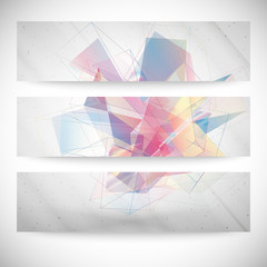 Set of Abstract colored backgrounds, triangle design vector