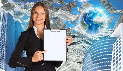Bisinesswoman hold paper holder. Buildings and Earth. Dollars