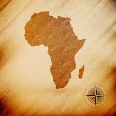 Africa map, wooden design background, vector illustration