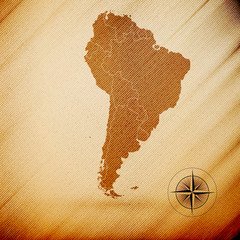 South America map, wooden design background, vector illustration