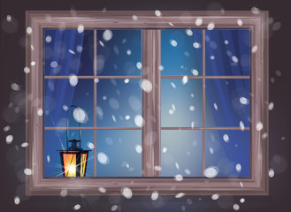 Vector winter night scene of window with lantern.