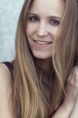 Smiling scandinavian women model outdoor