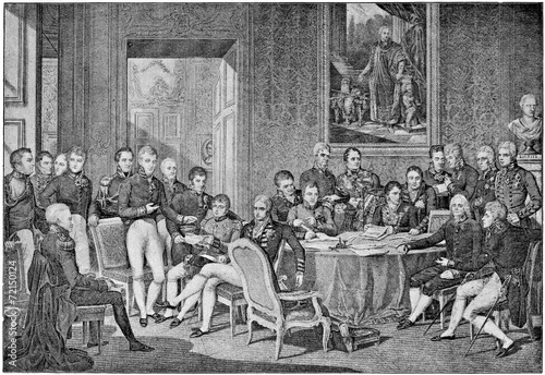 Fotobehang Retro Congress of Vienna in 1814 by engraving Jean Godefroy