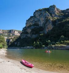 Kayak au bord de l'Ardèche