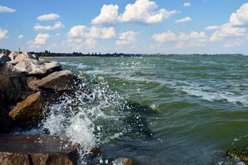 Seascape, bay, waves and rocks