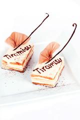 two cakes with vanilla bean tiramisu