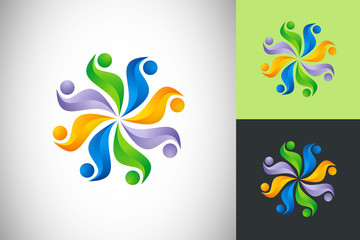 circular people diversity flower vector design