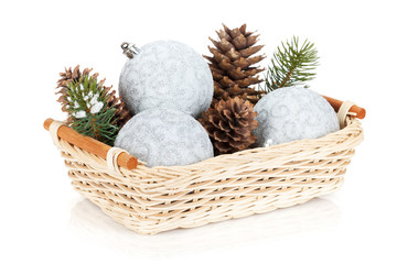Silver christmas baubles and fir tree