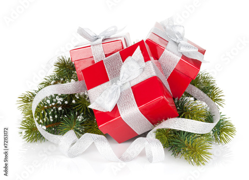 canvas print picture Three christmas gift boxes