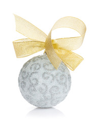 Christmas bauble with gold ribbon
