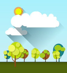 Paper spring tree with sun and white cloud