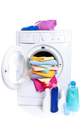 washing machine isolated on white, cleaning agents and cloths.