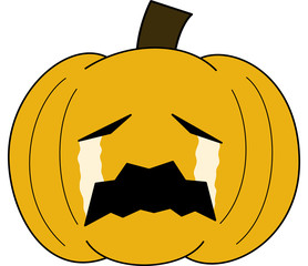 vector pumpkin face cartoon emotion expression cry