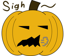 vector pumpkin face cartoon emotion expression sigh