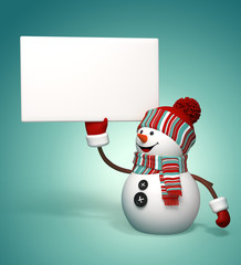 3d snowman holding blank banner, holiday background