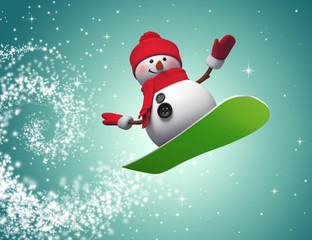 3d snowman jumping on snowboard, holiday illustration