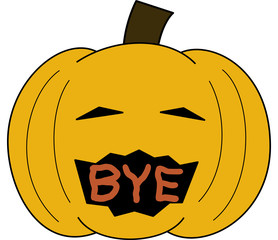 vector pumpkin face cartoon emotion expression bye