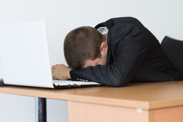 Tired Office Man Take Rest In Front His Computer