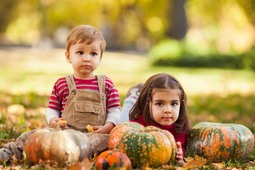 Two cute little children enjoying beautiful autumn day in a park