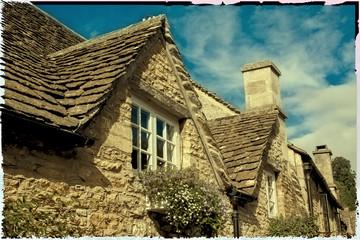 Polaroidfoto, altes Dorf