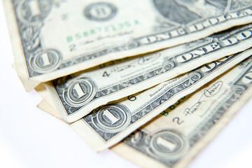 One dollar bills fanned