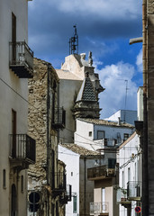 Italy, Sicily, Alcamo, view of the small town