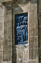Italy, Sicily, Alcamo, bronze sculpture on Porta Palermo