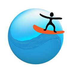 surfer on the wave, vector logo illustration