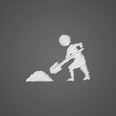 construction works sketch logo doodle icon.