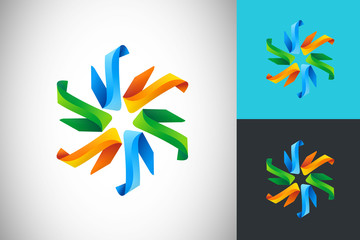 abstract circular ribbon colorful vector logo