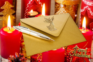 Weihnachten - Briefumschlag - Gold