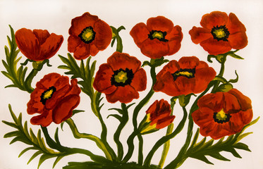 Red poppies, painting