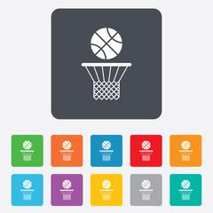 Basketball basket and ball icon. Sport symbol.