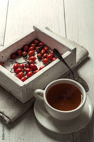canvas print picture rosehips in box