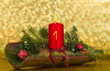 Advents-Gesteck in Ton-Dachziegel