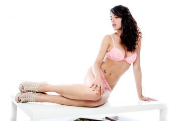 Sensual brunette with pink underwear
