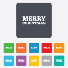 Merry christmas text sign icon. Present symbol.