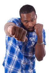 African American man on a boxing position - Black people