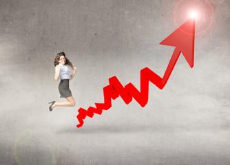 business woman jump on positive gain arrow