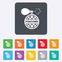Perfume bottle sign icon. Glamour fragrance.
