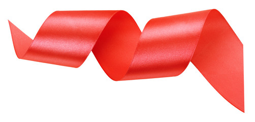 red ribbon isolated on the white background