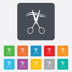 Scissors cut hair sign icon. Hairdresser symbol.