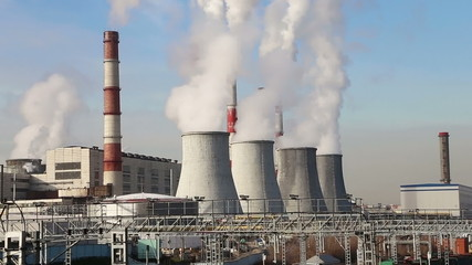 Coal burning power plant with smoke stacks, Moscow