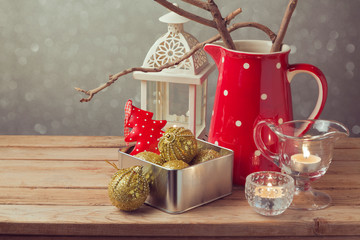 Christmas holiday vintage decorations on wooden table