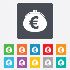 Wallet euro sign icon. Cash bag symbol.