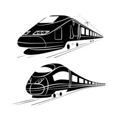 monochrome silhouette of the high-speed passenger train