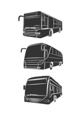 monochrome drawing of the passenger bus