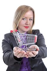 Businesswomen is holding shopping cart