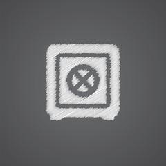 bank safe sketch logo doodle icon.