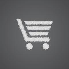 shopping cart sketch logo doodle icon.
